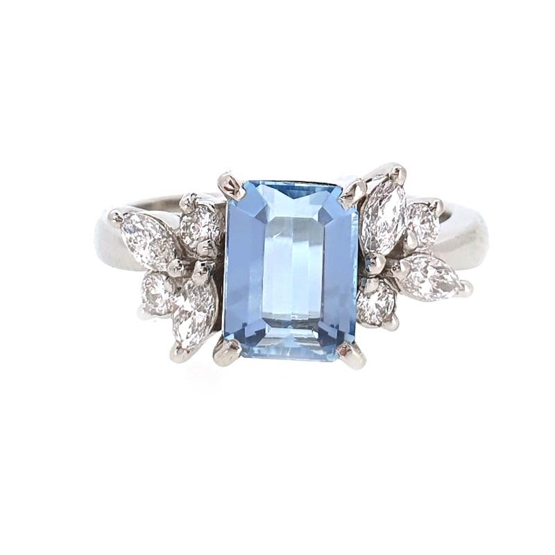 Platinum Aquamarine & Diamond Ring