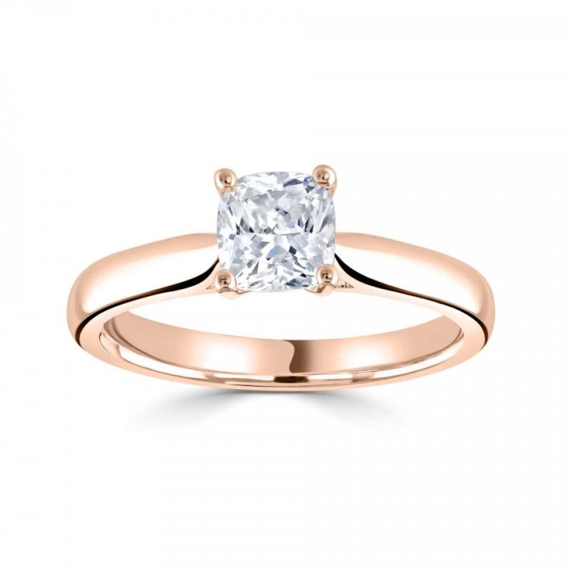 0.42ct Diamond 18ct Red Gold Cushion Solitaire £1815.00