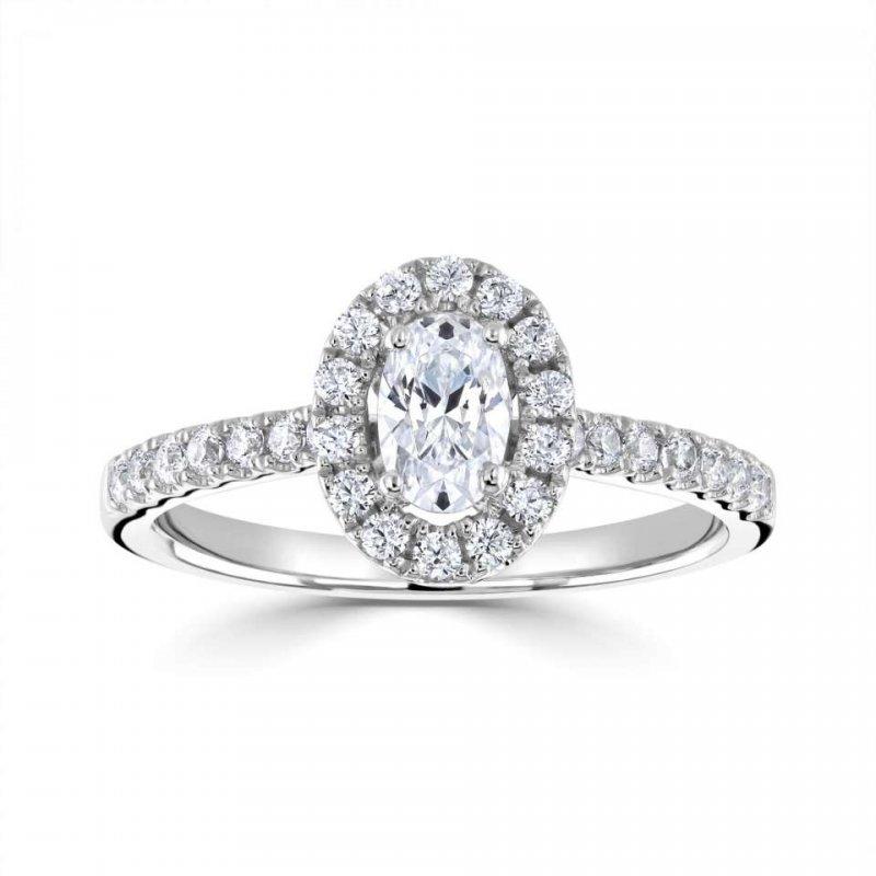 0.78ct  Classic Oval Halo Diamond Engagement £3017.00