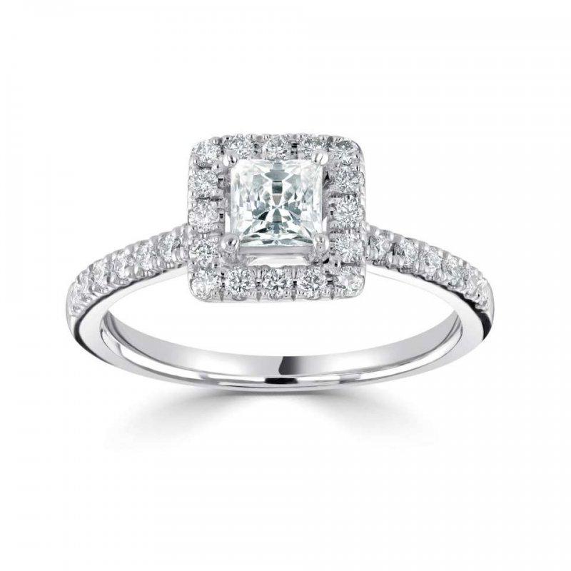 0.79ct Classic Princess Halo Diamond Engagement £2790.00