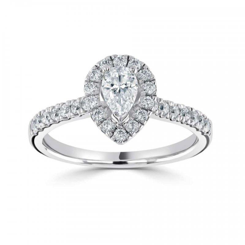 0.78ct Classic Pear Halo Diamond Engagement £2764.00