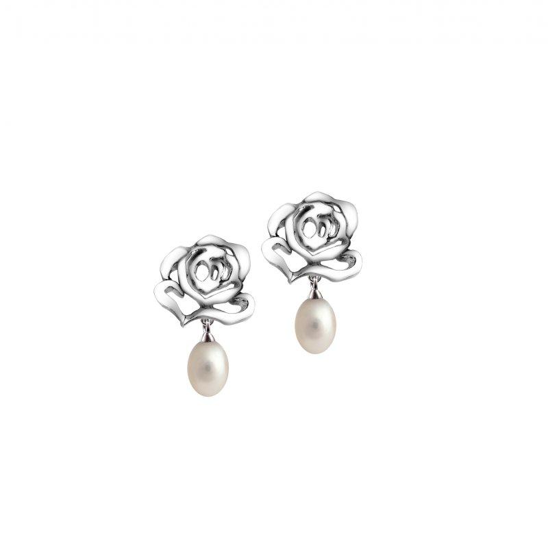 Rose Stud Pearl Drop Earrings £95.00