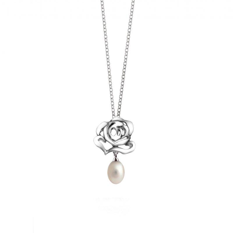 Rose Stud Pearl Drop Pendant £85.00