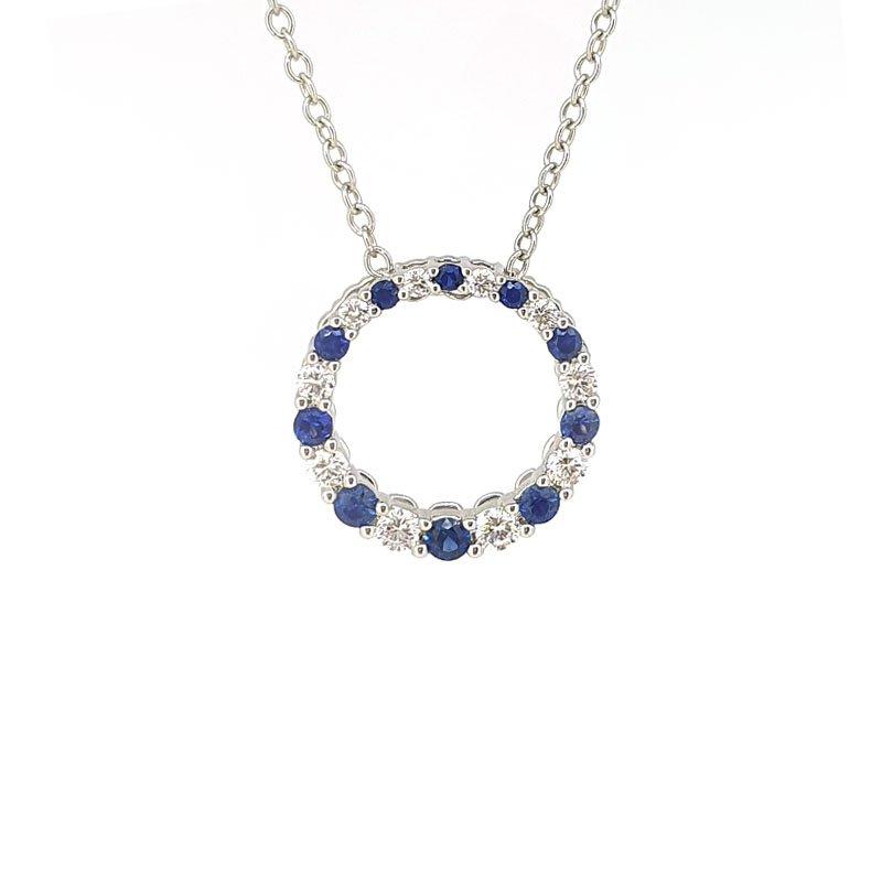 Sapphire & Diamond Circle of Love Pendant on 18