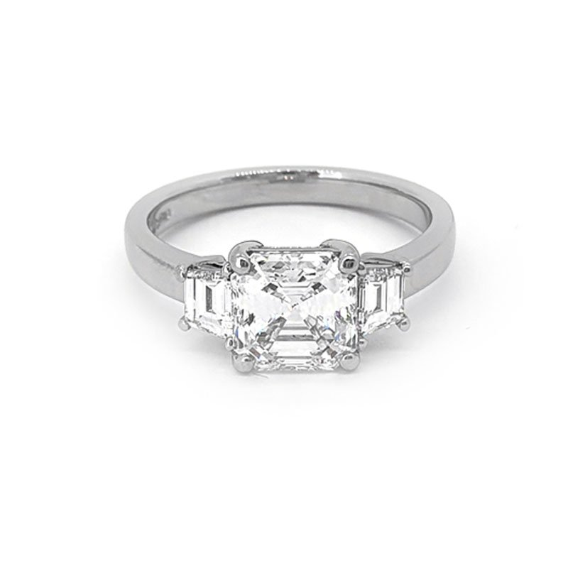 1.71ct Asscher Diamond 0.44ct Trapezoid Ring | POA