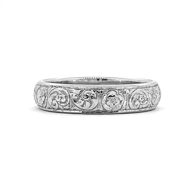 Hand Engraved Platinum Ring