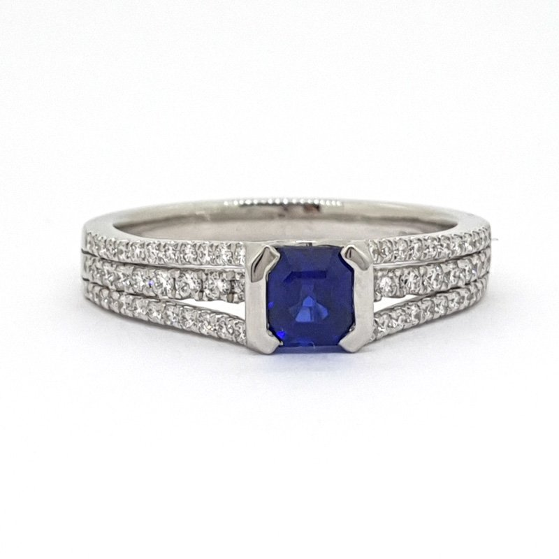 0.65ct Princess Cut Sapphire & Diamond Ring