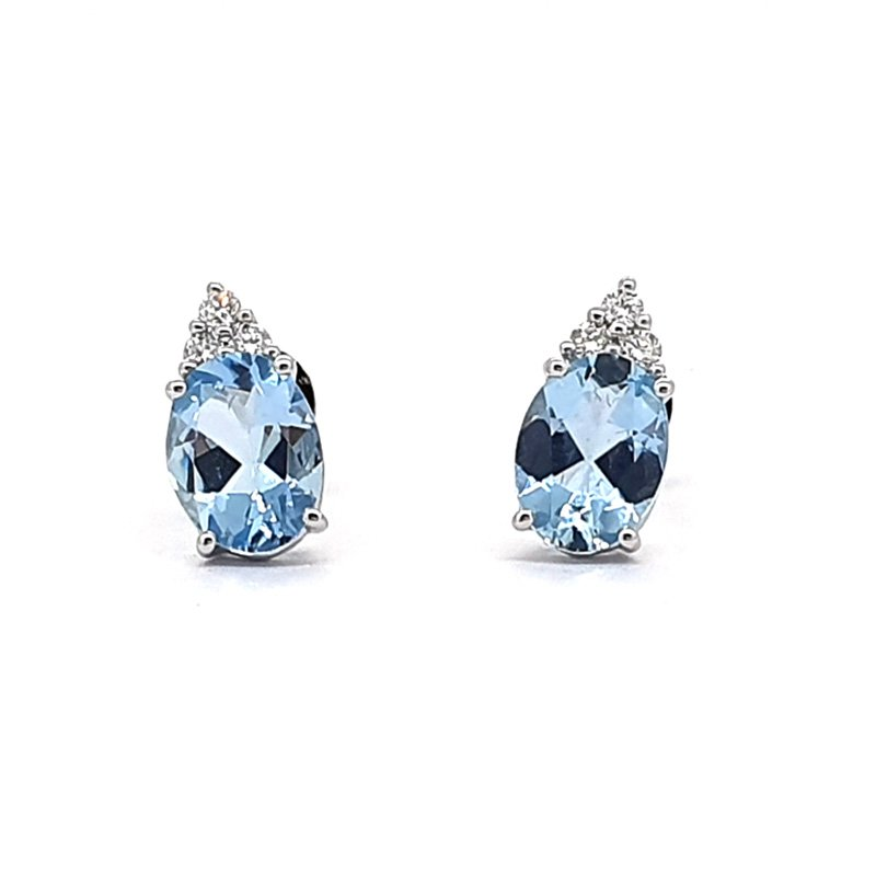 18ct White Gold Diamond & Topaz Studs
