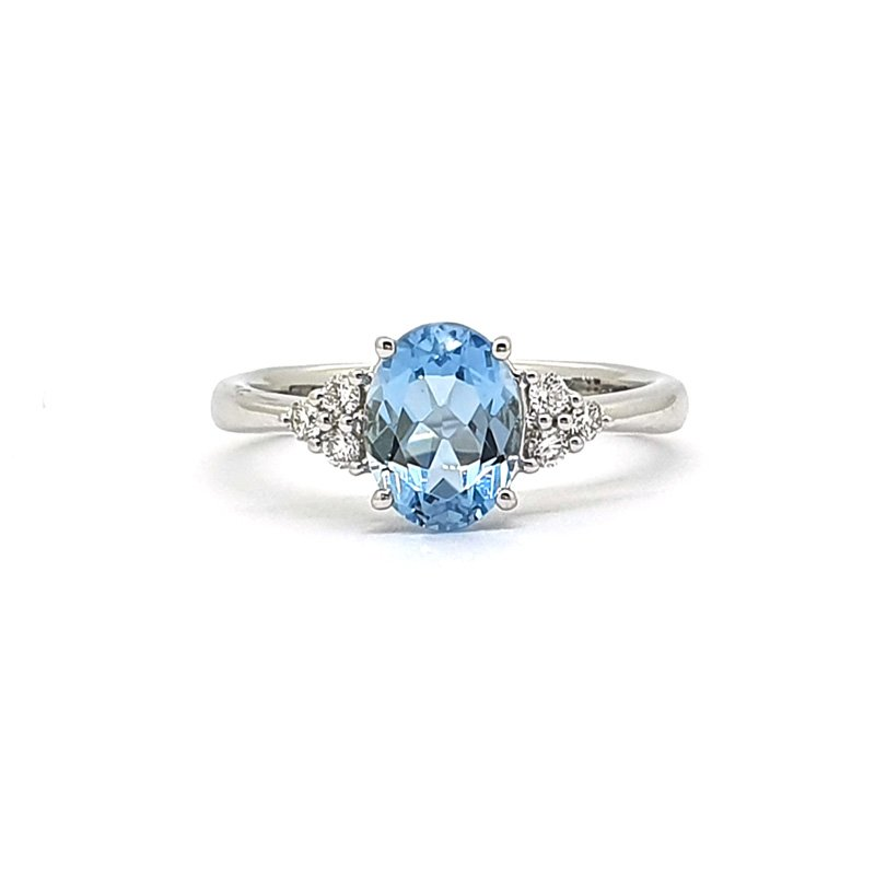 18ct White Gold Diamond & Topaz Ring