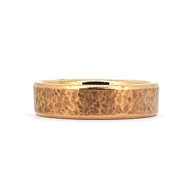 9ct Red Hammered Gents Wedding Band | POA