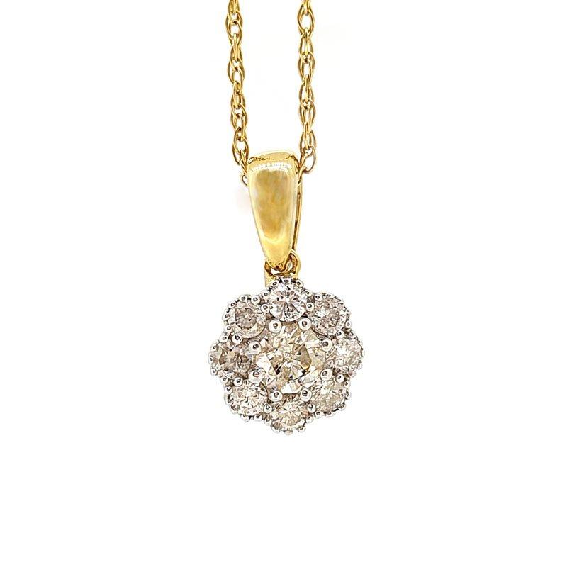 18ct 0.26ct Diamond Flower Cluster Pendant £513.00
