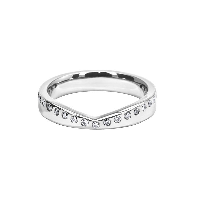 0.15ct Diamond Set Shaped Wedding Ring