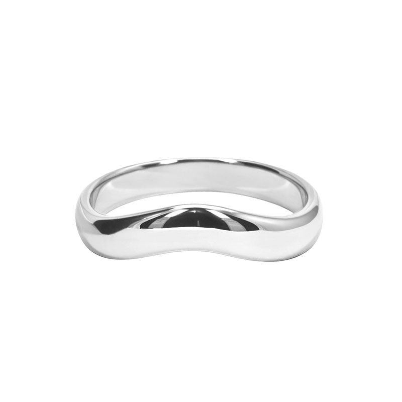 5mm Curved D-Shape Wedding Ring