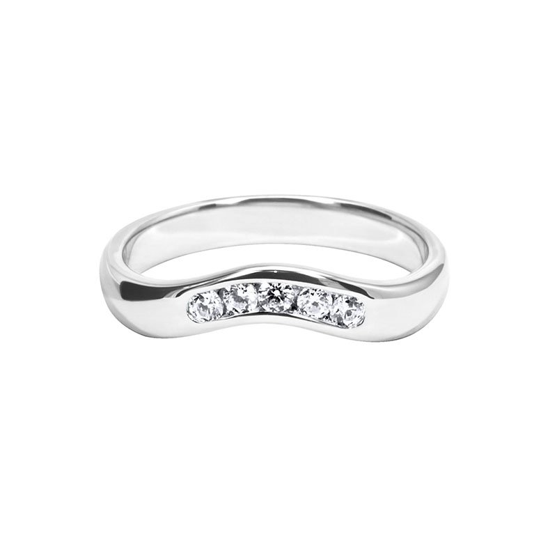 0.19ct Diamond Set Shaped Wedding Ring