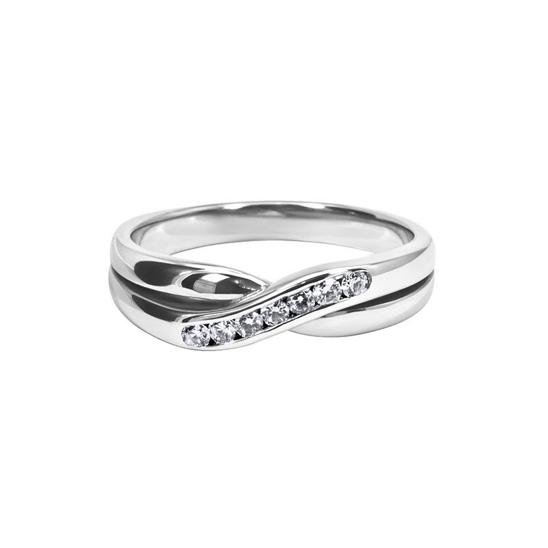 0.14ct Diamond Set Shaped Wedding Ring