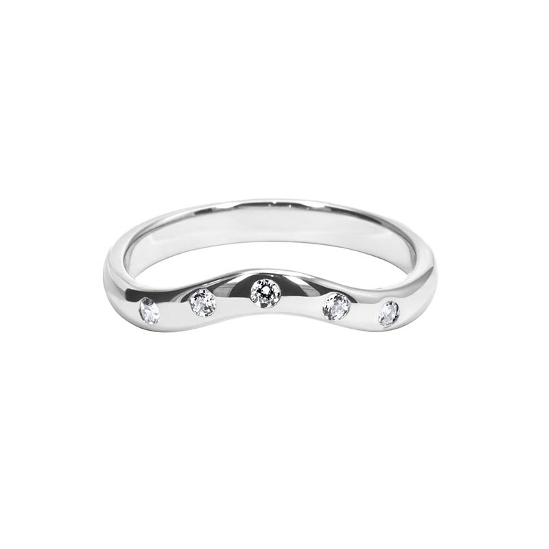 0.10ct Diamond Set Shaped Wedding Ring
