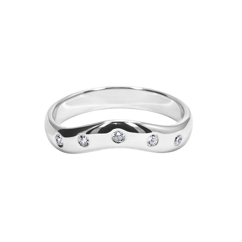 0.10ct Diamond Set Shaped Wedding Ring 2