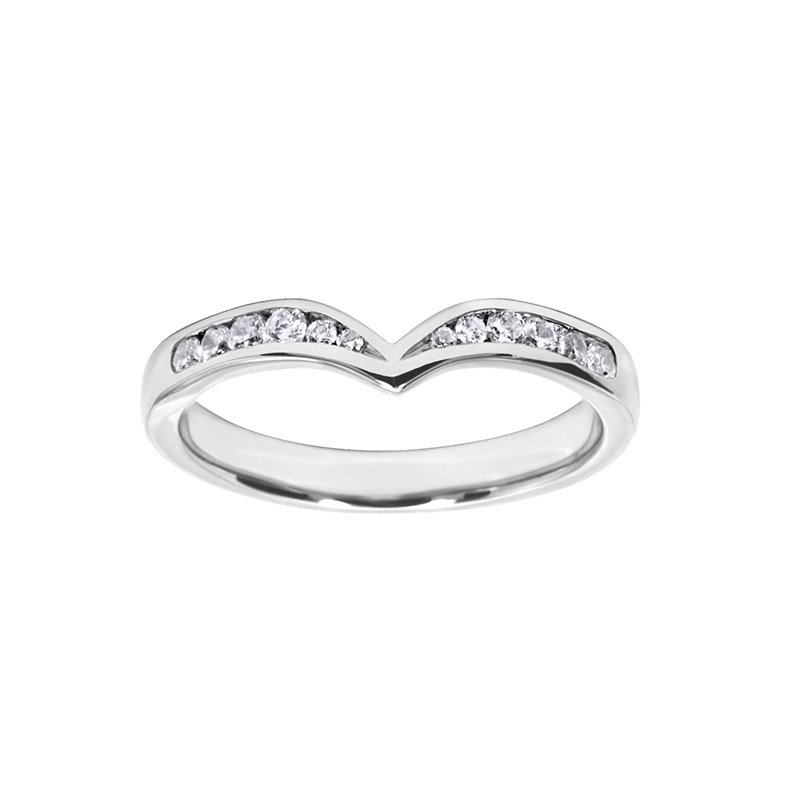 0.19ct Diamond Set Shaped Wedding Ring 2