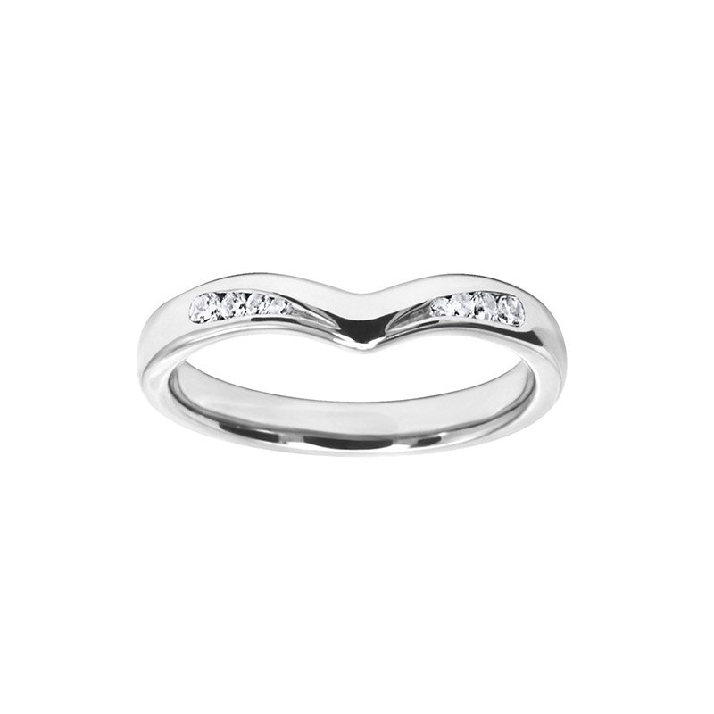 0.12ct Diamond Set Shaped Wedding Ring