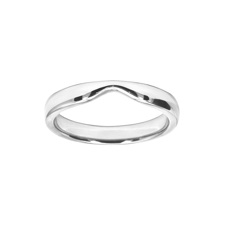 Shaped Wedding Band With Straight Edge