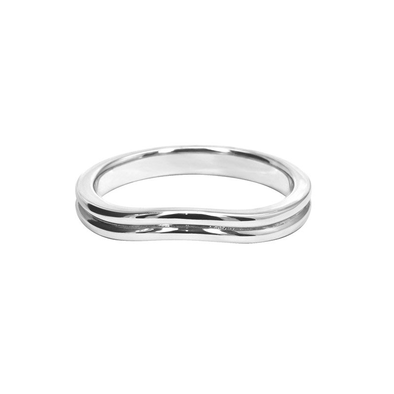 Shaped Wedding Band With Polished Centre Groove