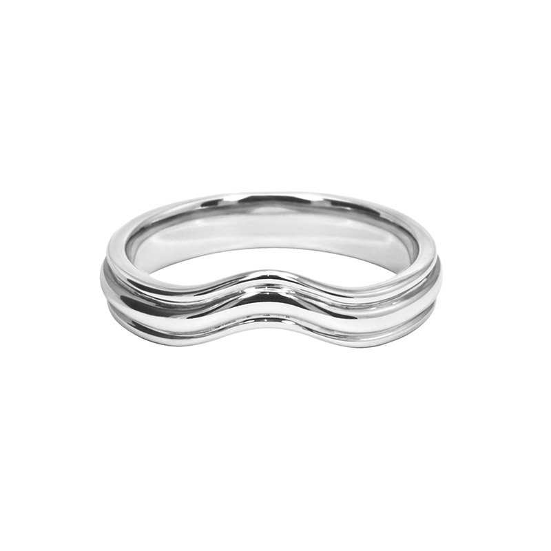Shaped Wedding Band With Double Polished Grooves