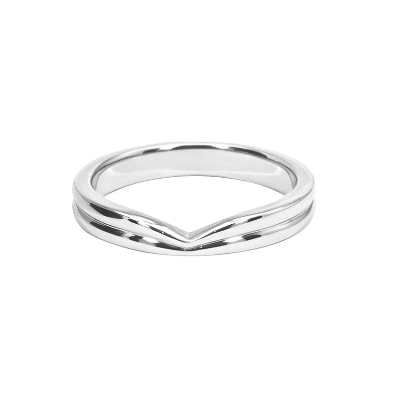 Shaped Wedding Band With Polished Groove and Straight Edge