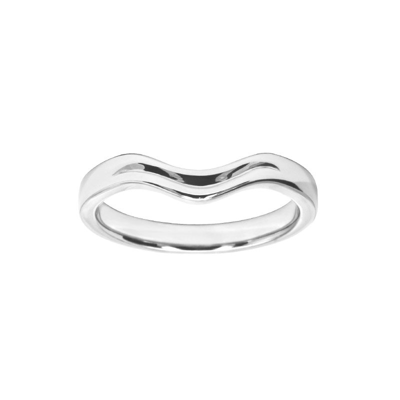 Shaped Wedding Band With Top Centre Polished Groove