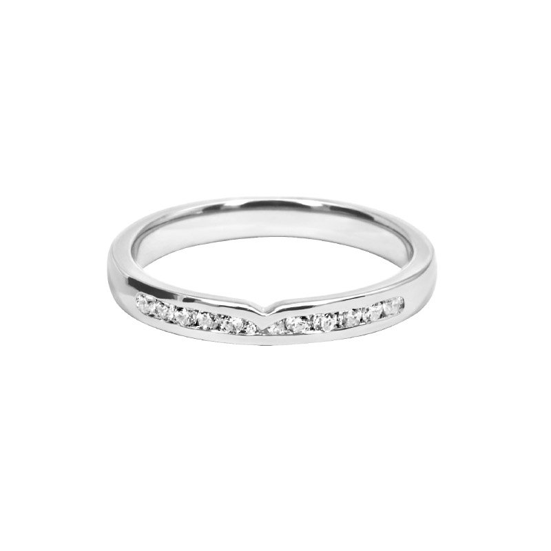 0.16ct Diamond Set Shaped Wedding Ring
