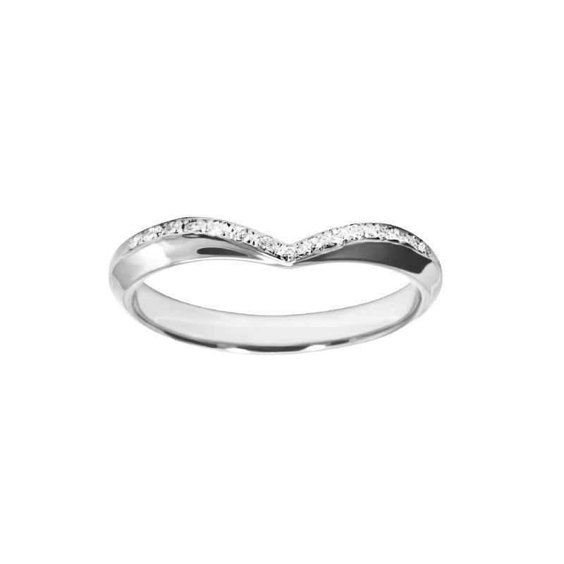 0.11ct Diamond Set Shaped Wedding Ring