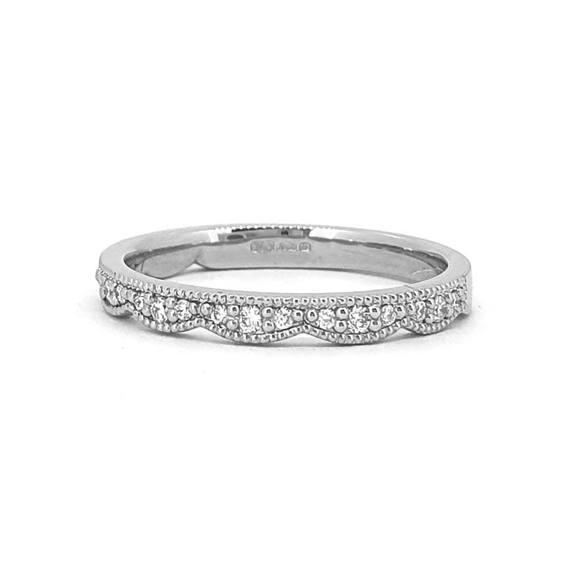 0.14ct Scalloped Edge Wedding Band | Platinum