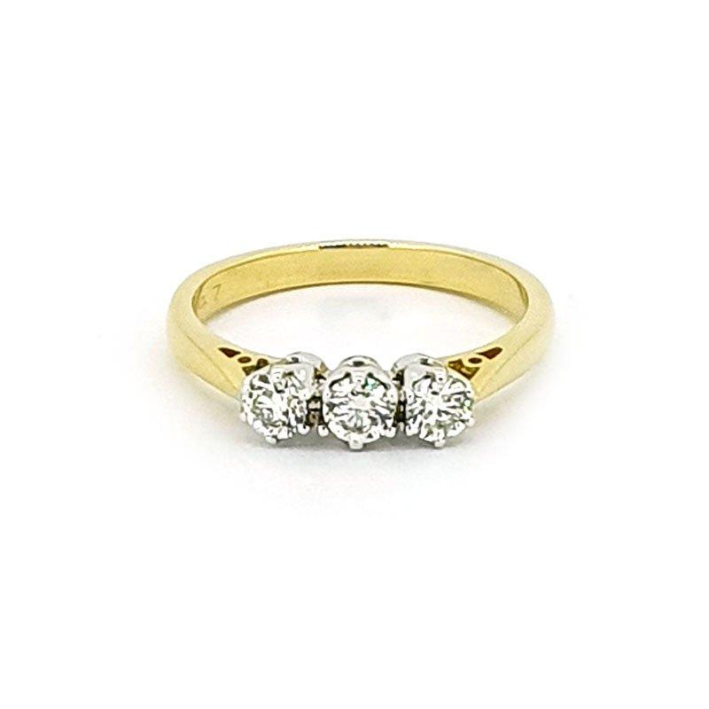 18ct Yellow Gold 0.47ct Diamond Trilogy £2235.00
